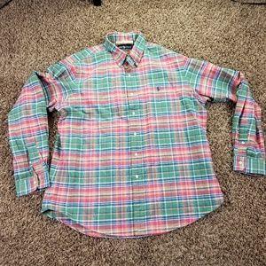 Ralph Lauren Dress Shirt Men's XL Button Front Pla